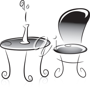 Illustration of Flower Vase, Table and Chair in Black and White