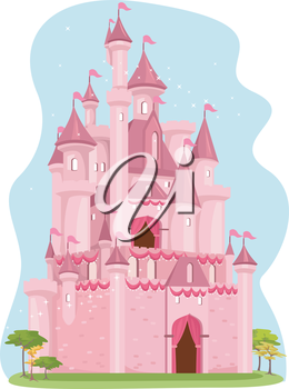 Illustration of a Cute Pink Castle
