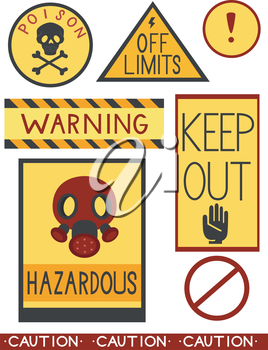 Illustration of Ready to Print Labels Containing Different Warnings