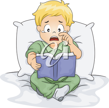 Illustration of a Caucasian Boy Shedding Tears While Reading a Storybook
