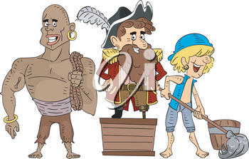 Illustration of Pirate Crew Members Cleaning Under the Supervision of the Captain