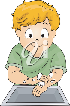 Illustration of a Little Boy Washing His Hands with Soap