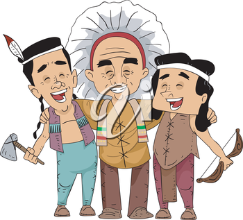 Illustration of a Group of Friends from Different Native American Tribes