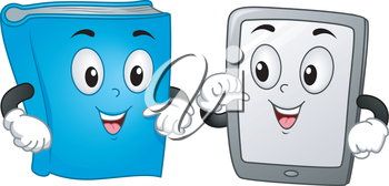 Mascot Illustration Featuring a Book and a Computer Tablet Standing Side by Side