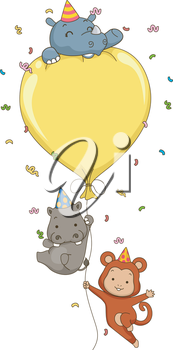Illustration of Cute Jungle Animals Holding on to a Big Party Balloon with space for text