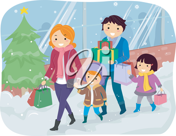 Illustration of a Family Doing Some Christmas Shopping Together