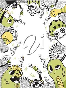 Background Illustration Featuring Cute Doodle Style Monsters Celebrating
