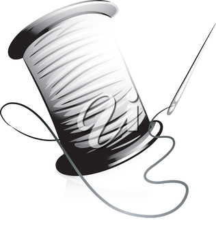 Icon Illustration Featuring a Needle and a Spool of Thread Done in Black and White