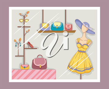 Illustration Featuring a Boutique Window with Visible Displays