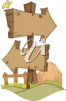 Illustration Featuring Rustic Arrow Signs