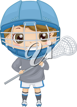 Illustration of a Boy Dressed in Lacrosse Gear