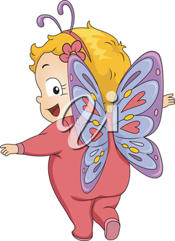 Illustration Featuring a Baby Girl Wearing a Butterfly Costume