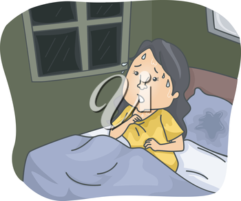 Illustration Featuring a Woman Soaked with Sweat After Waking Up From a Nightmare