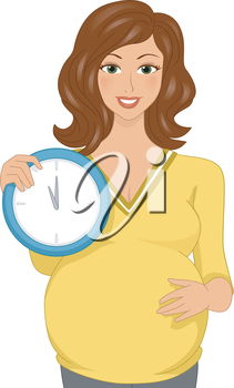 Illustration Featuring a Pregnant Woman Holding a Clock