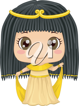Illustration Featuring a Girl Wearing an Egyptian Costume