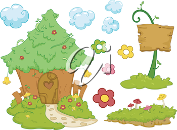 Illustration Featuring a Fairy House