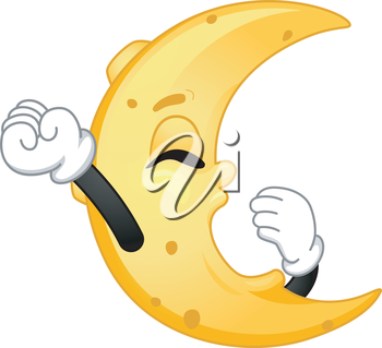 Mascot Illustration Featuring the Moon Yawning While Stretching