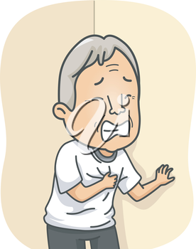 Illustration Featuring an Elderly Man Having a Heart Attack