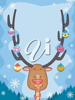 Illustration Featuring a Reindeer with Christmas Baubles Hanging From Its Antlers
