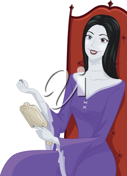 Illustration Featuring a Woman Applying Matching Make-up on Her Face