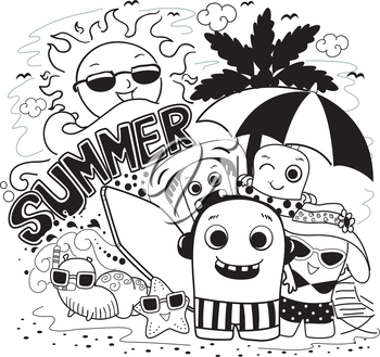 Doodle Illustration of Cute Monsters Playing in the Beach