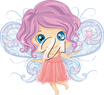 Illustration of a Cute Little Girl Dressed as a Fairy