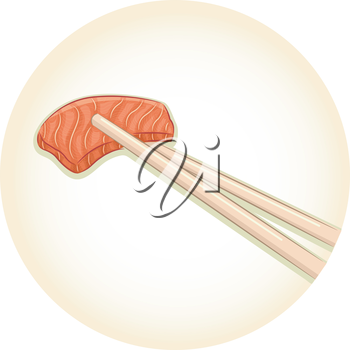 Illustration of a Pair of Chopsticks Holding a Piece of Fish Meat