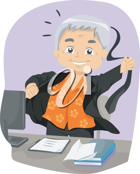 Illustration of a Senior Citizen Taking Off His Business Suit