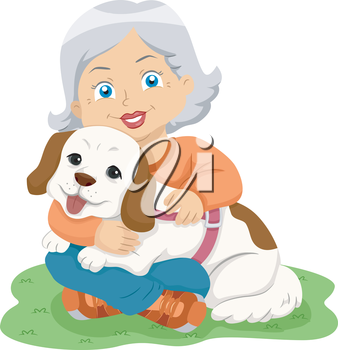Illustration of a Female Senior Citizen Hugging Her Pet Dog
