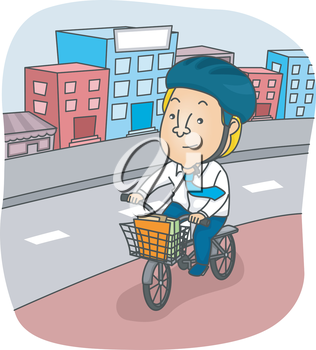 Illustration of a Man Riding His Bicycle Around the City