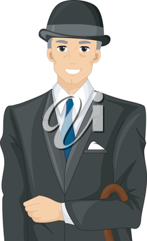 Illustration of an Englishman Wearing Formal Attire