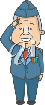 Illustration of an Elderly Veteran Doing a Salute