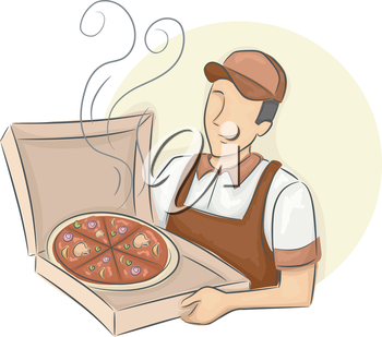 Illustration of a Delivery Man Presenting a Box of Hot Pizza