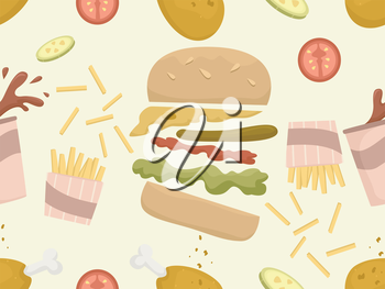 Seamless Background Illustration of Food Commonly Served at Fast Food Chains