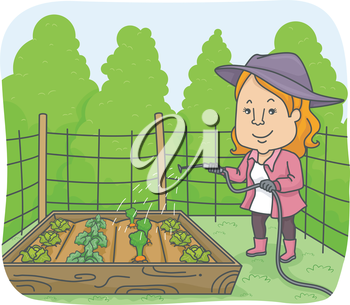 Illustration of a Woman Watering Plants in a Raised Box