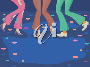 Illustration of a Group of Dancers Wearing Retro Costume Dancing on the Dance Floor