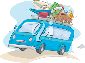 Illustration of a Microbus on a Long Country Road Trip