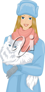 Illustration of a Girl Carrying a Syberian Cat in Her Arms