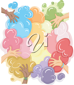 Cropped Illustration of Hands Playing with Colorful Powder