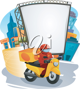 Illustration of a Fast Food Delivery Man Driving a Motorcycle
