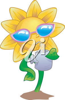 Mascot Illustration of a Sunflower while drinking water