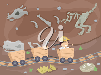 Stickman Illustration of a Kid Boy Mining Fossils Underground