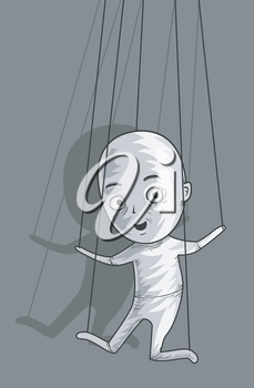 Illustration of a Male Puppet Controlled by Strings