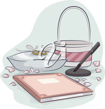 Illustration of a Pair of Rings Sitting Placed Beside a Bridal Registry Book