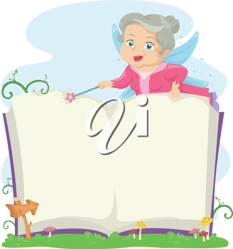 Illustration of a an Elderly Fairy Opening a Book