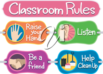 Illustration of Ready to Print Labels of Classroom Rules