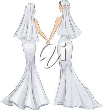 Illustration of a Female Same Sex Couple Holding Hands After Getting Married