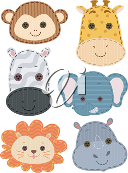 Illustration of Colorful Patches Featuring Safari Animals