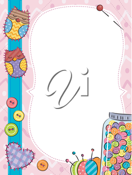 Frame Illustration Featuring Colorful Buttons and Patches