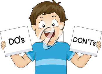 Illustration of a Boy Showing Flashcards of School Rules